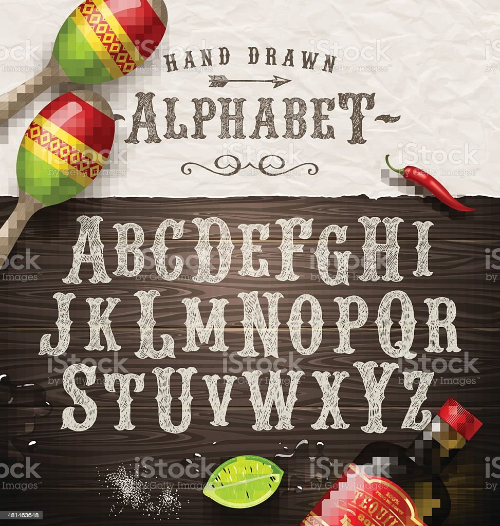 Hand drawn vintage alphabet - old mexican signboard style font vector art illustration