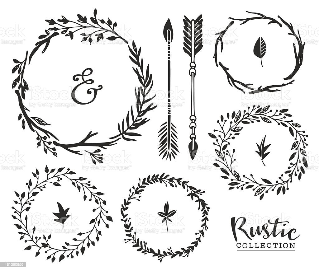 Hand drawn vintage ampersand, arrows and wreaths. vector art illustration