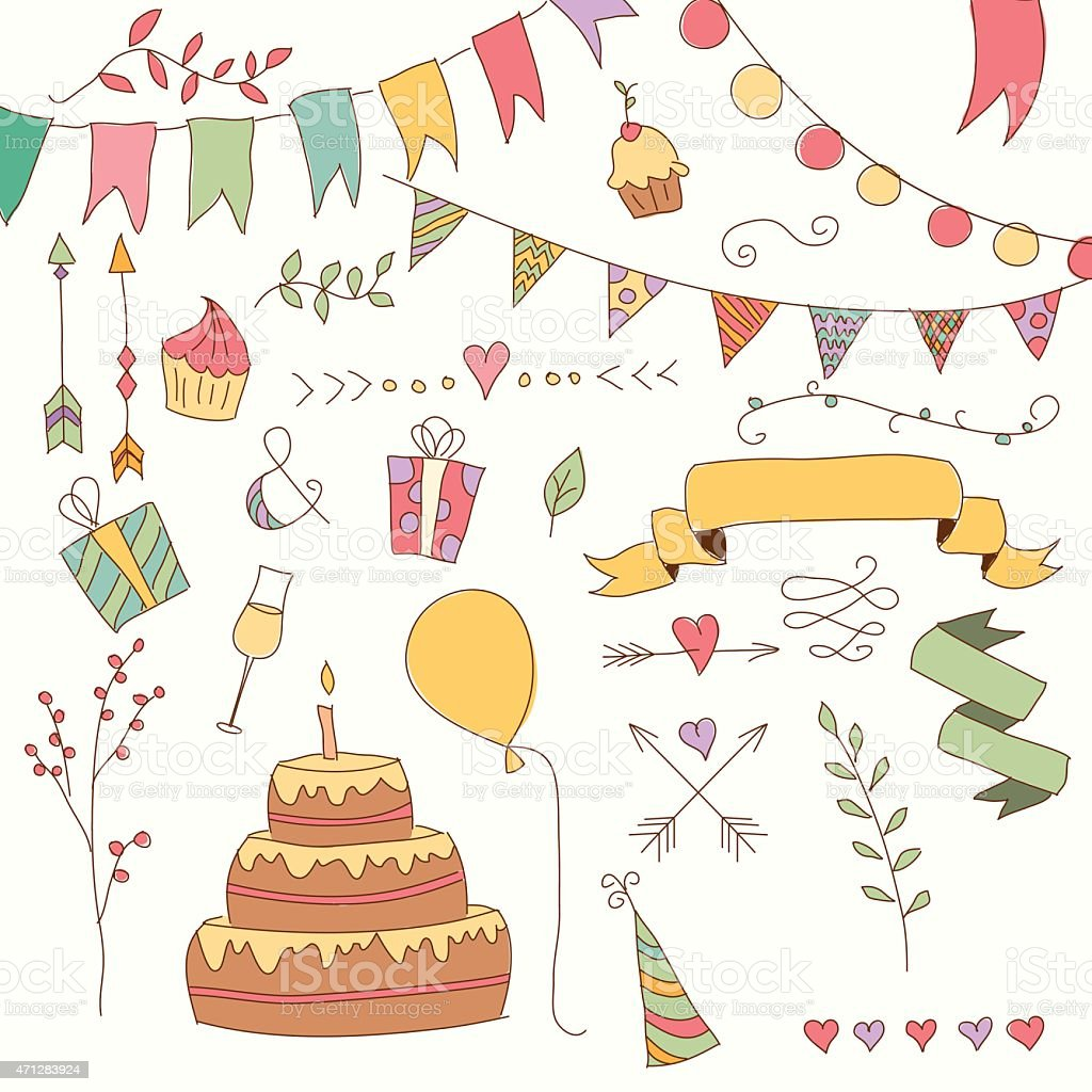 Hand drawn vintage birthday design elements, flowers and floral elements vector art illustration