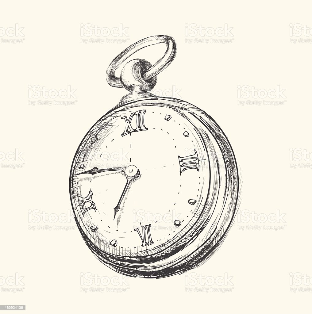 Hand drawn vintage clock sketch vector illustration vector art illustration