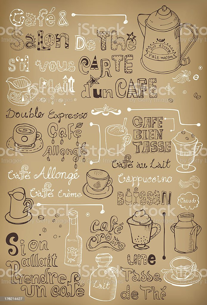 Hand drawn vintage coffee in French royalty-free stock vector art