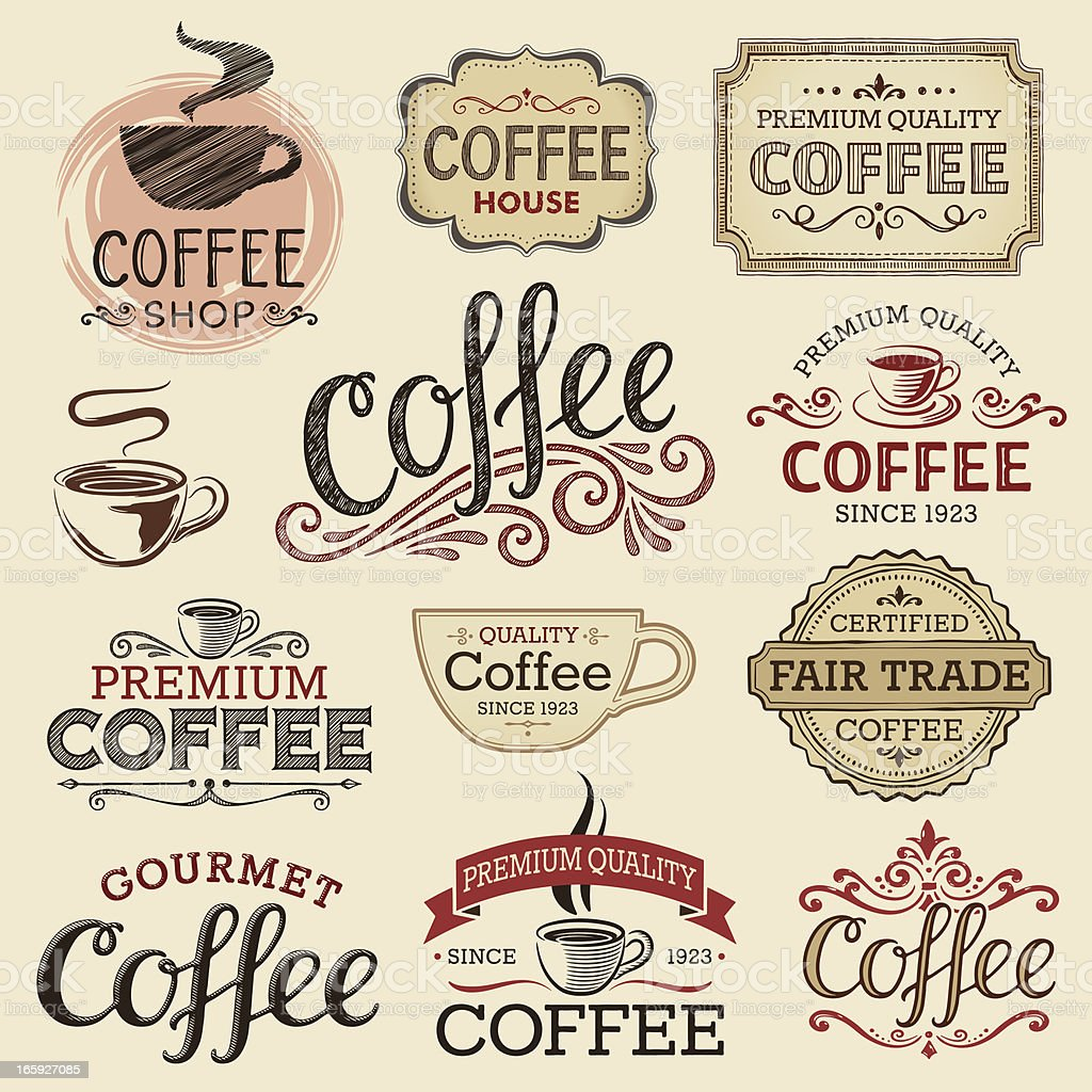 Hand Drawn Vintage Coffee Labels vector art illustration