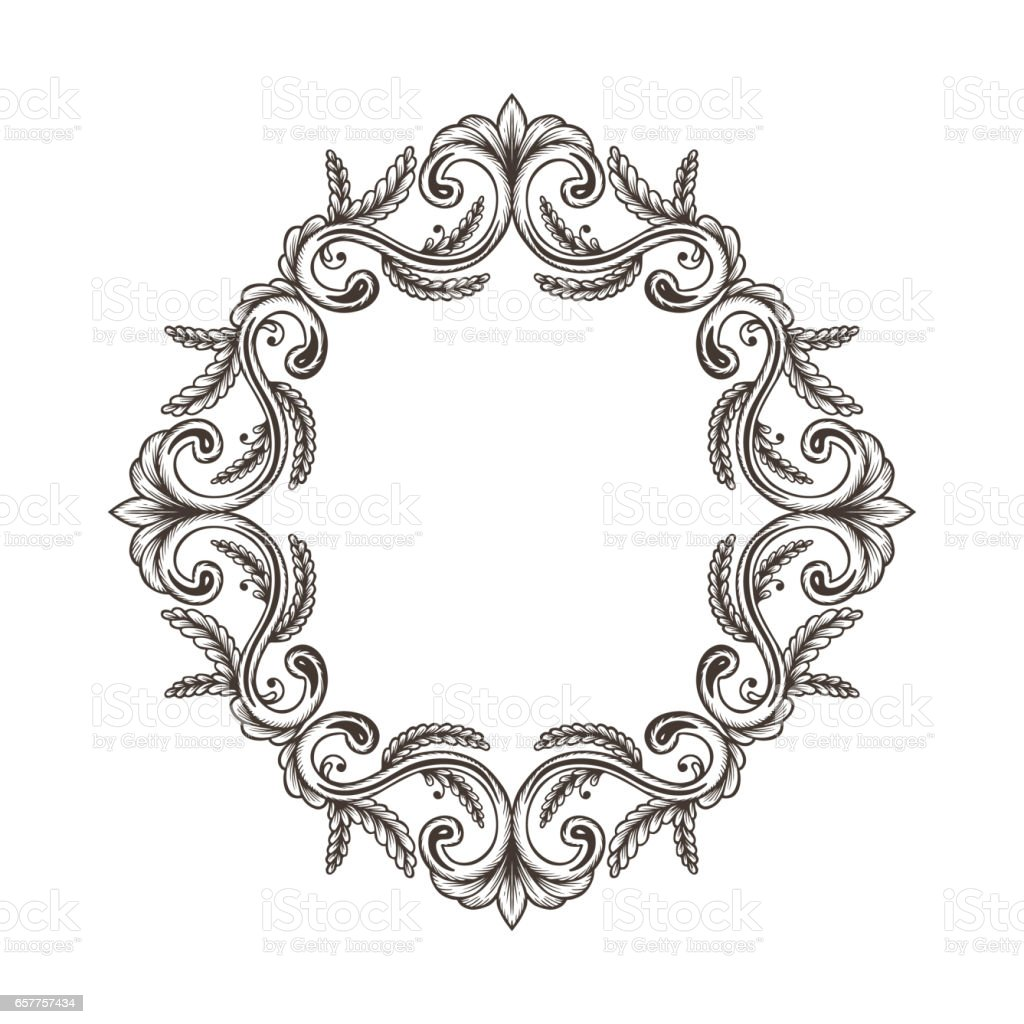 Beautiful hand drawn vintage damask ornamental elements for Baroque design elements