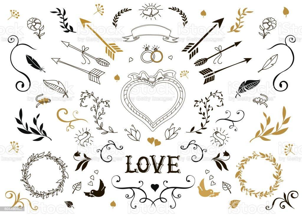 Hand drawn vintage decorative elements with lettering.  Floral design wedding vector art illustration