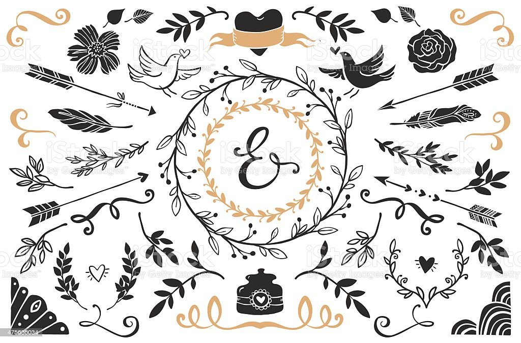 Hand drawn vintage decorative elements with lettering. vector art illustration