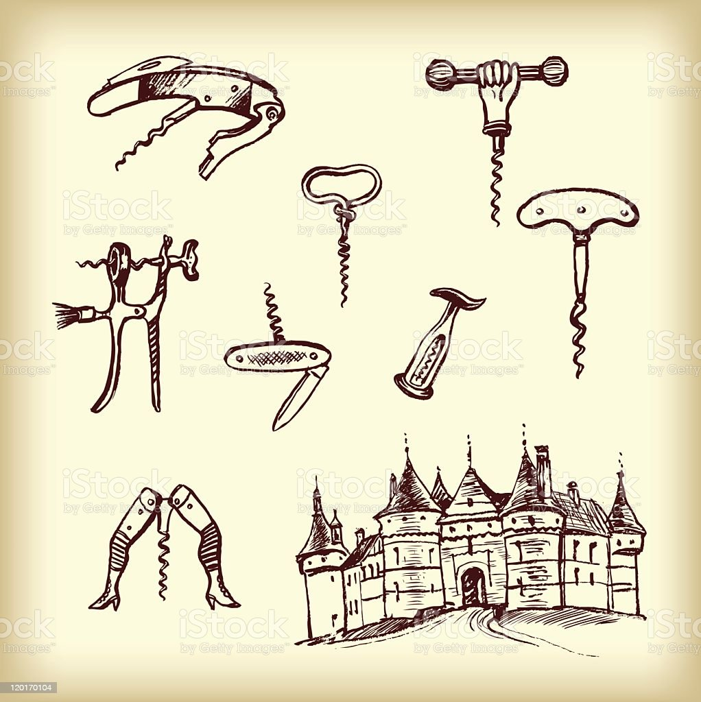 Hand drawn vintage  different cork screws royalty-free stock vector art