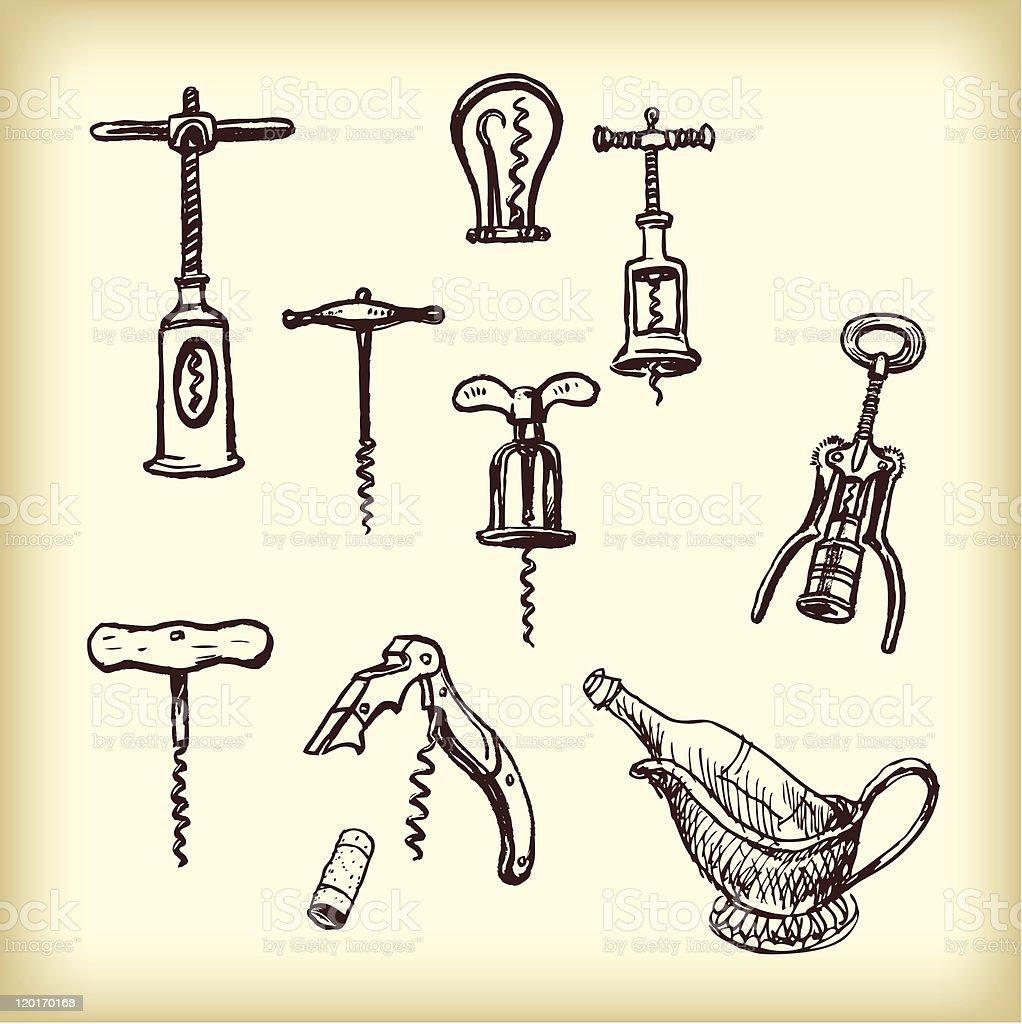 Hand drawn vintage  different cork screws vector art illustration