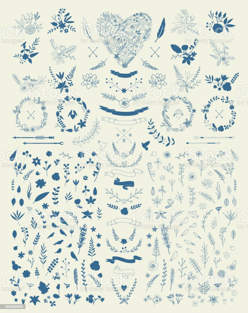 Hand Drawn vintage floral elements. Set of flowers. Decorative elements vector art illustration