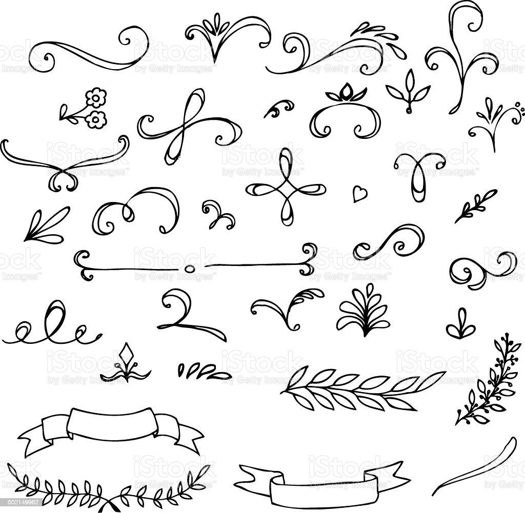 Hand Drawn vintage floral elements vector art illustration