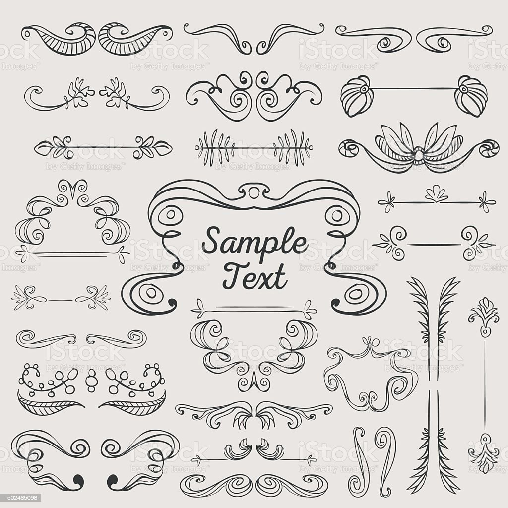 Hand drawn vintage frames and ornaments vector art illustration