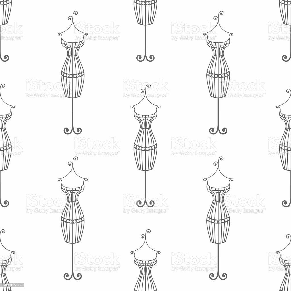 Hand drawn vintage iron mannequin seamless pattern. Doodle illustration vector art illustration