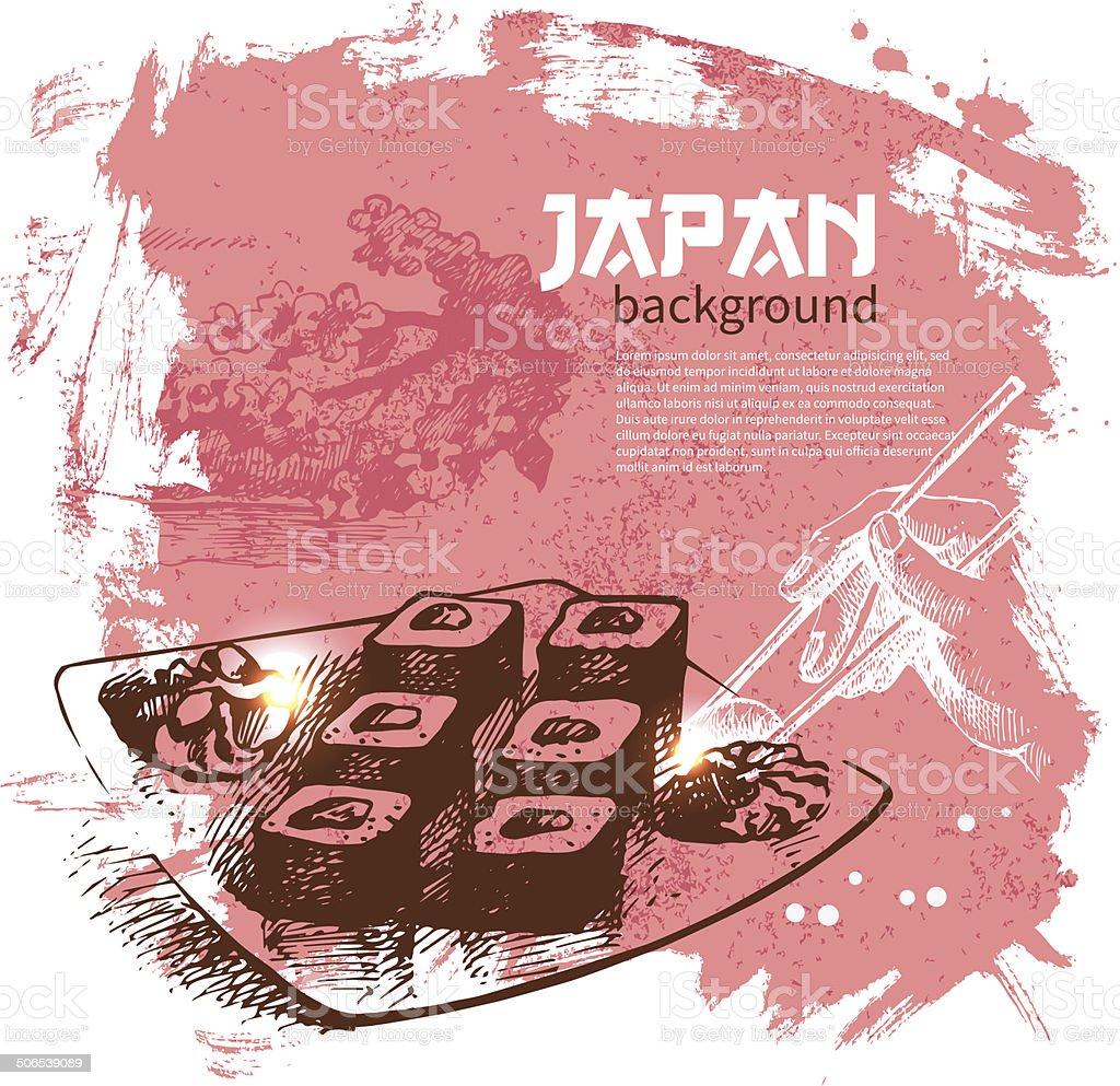 Hand drawn vintage Japanese sushi background vector art illustration