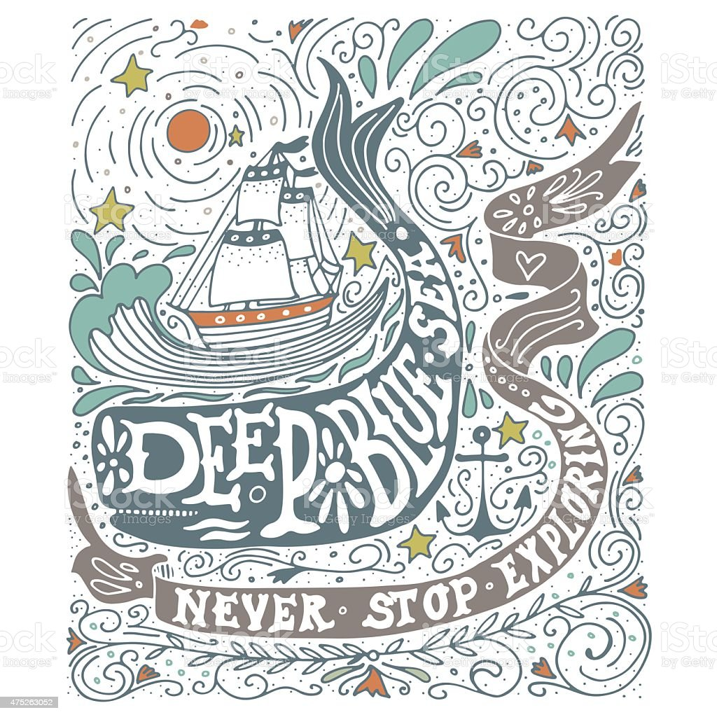 Hand drawn vintage label with a ship, whale and letterin vector art illustration