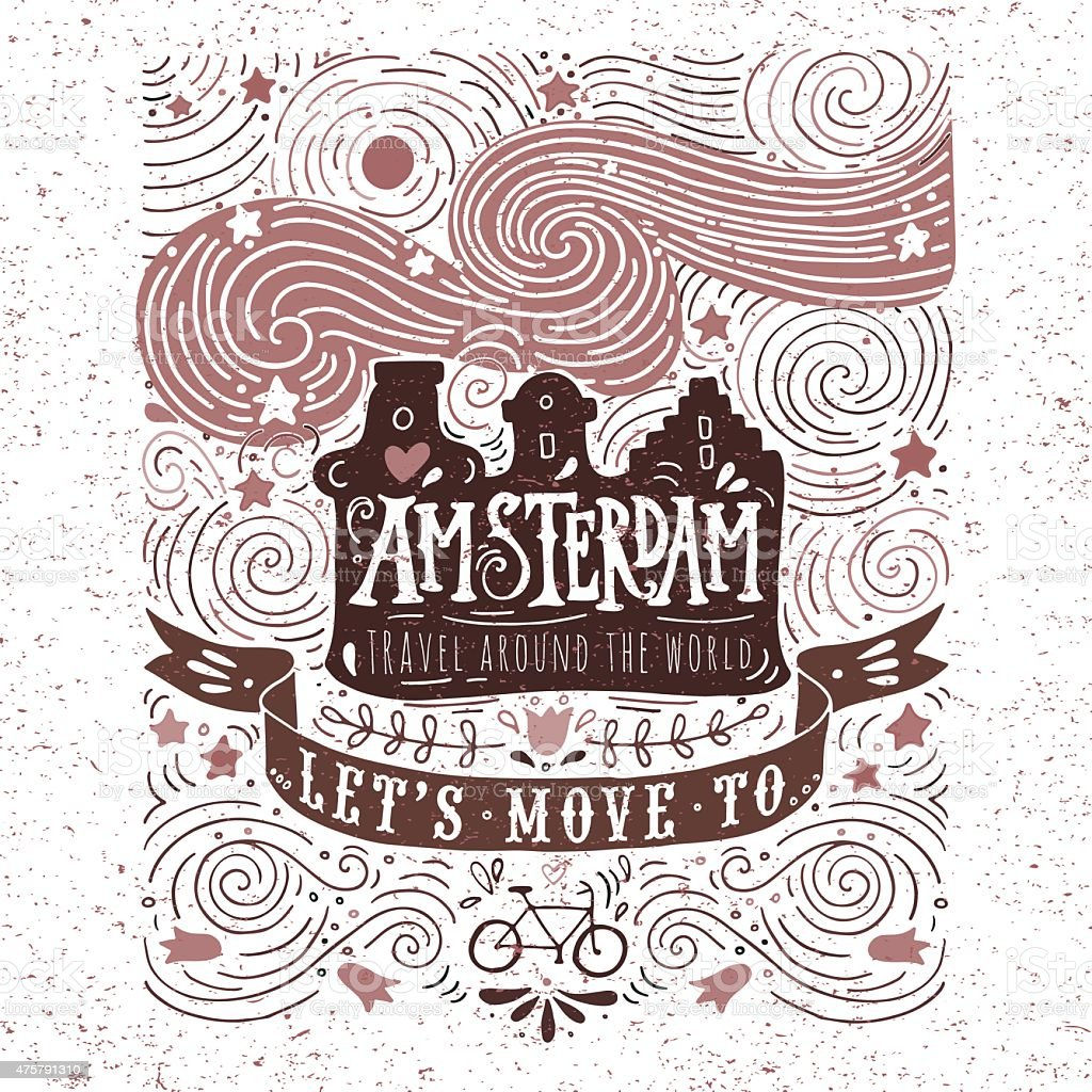 Hand drawn vintage label with Amsterdam canal houses vector art illustration