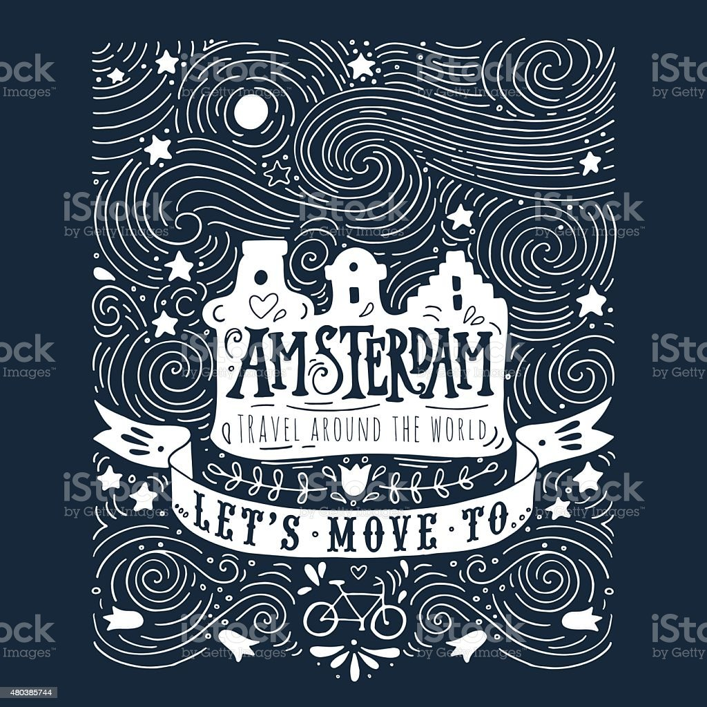 Hand drawn vintage label with Amsterdam houses vector art illustration