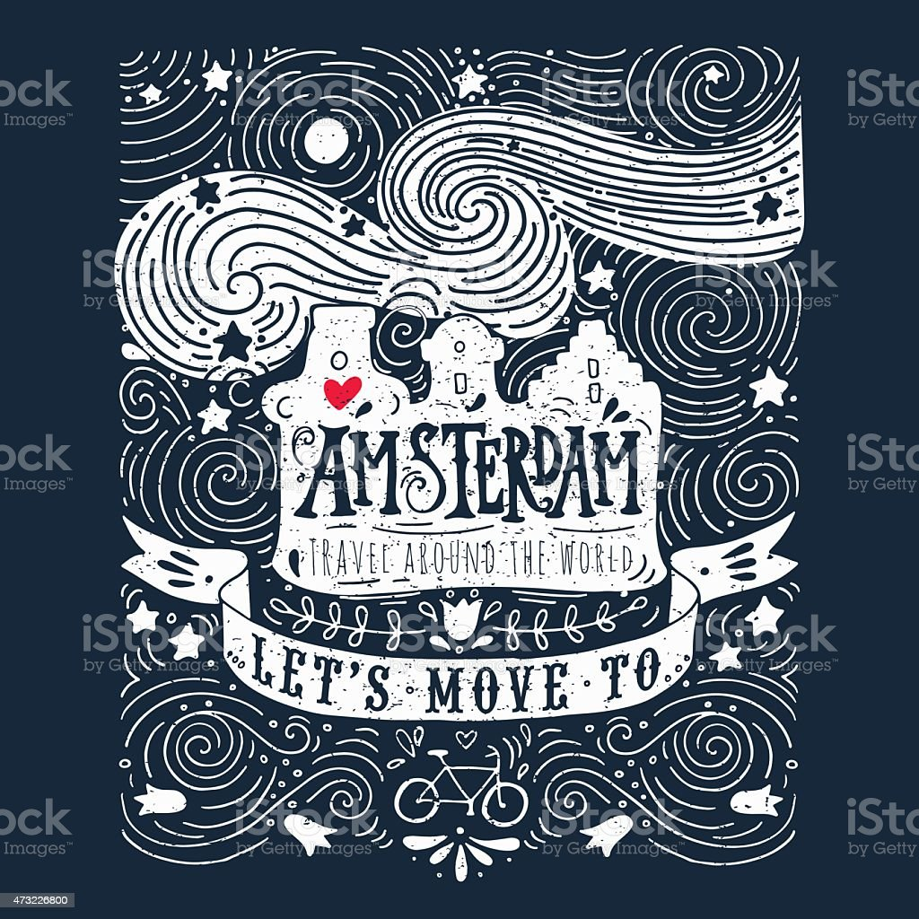 Hand drawn vintage label with Amsterdam on blackboard vector art illustration