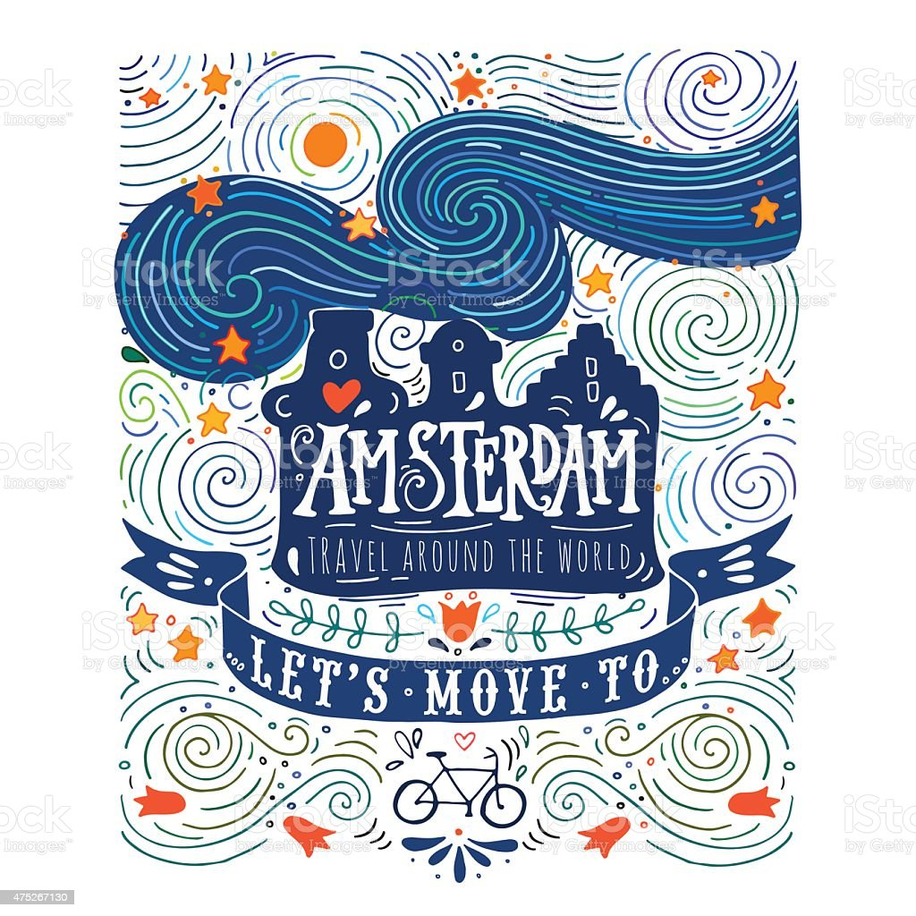 Hand drawn vintage label with Amsterdam vector art illustration