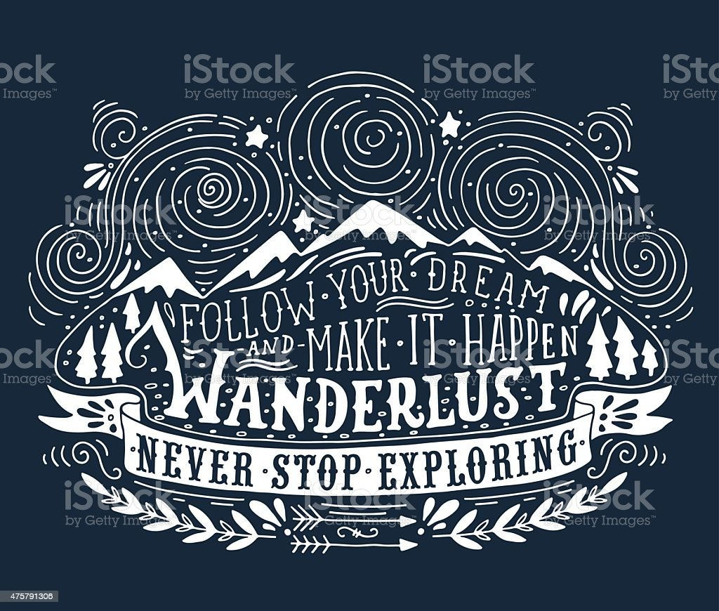 Hand drawn vintage label with mountains, forest and lettering vector art illustration