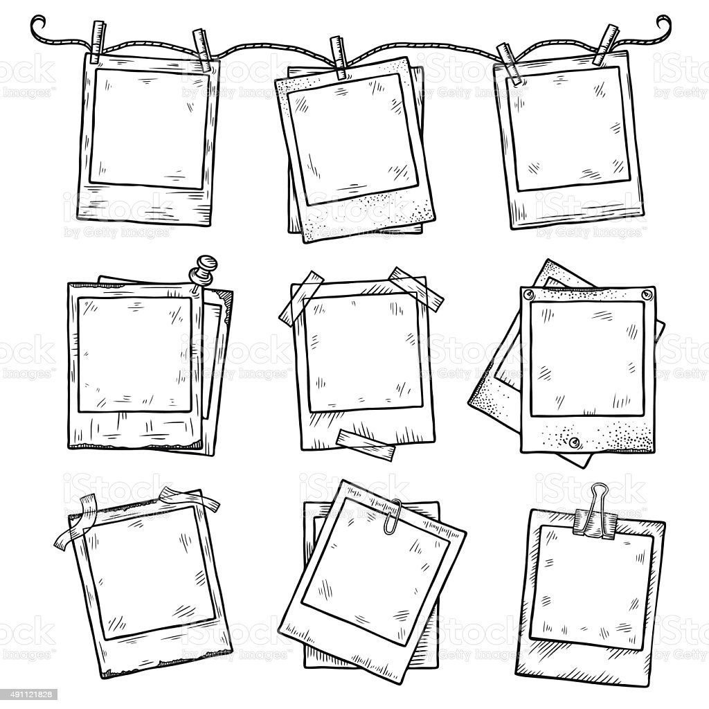 Hand drawn vintage photo frame doodle set vector art illustration