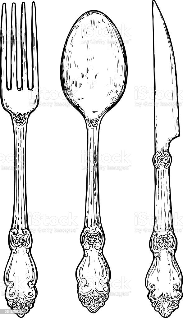 Hand drawn vintage silver cutlery. vector art illustration