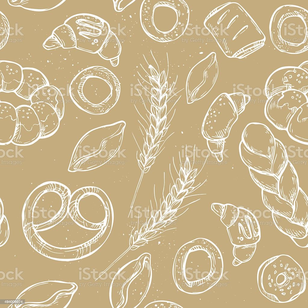 Hand drawn vintage vector seamless pattern - Bakery shop vector art illustration