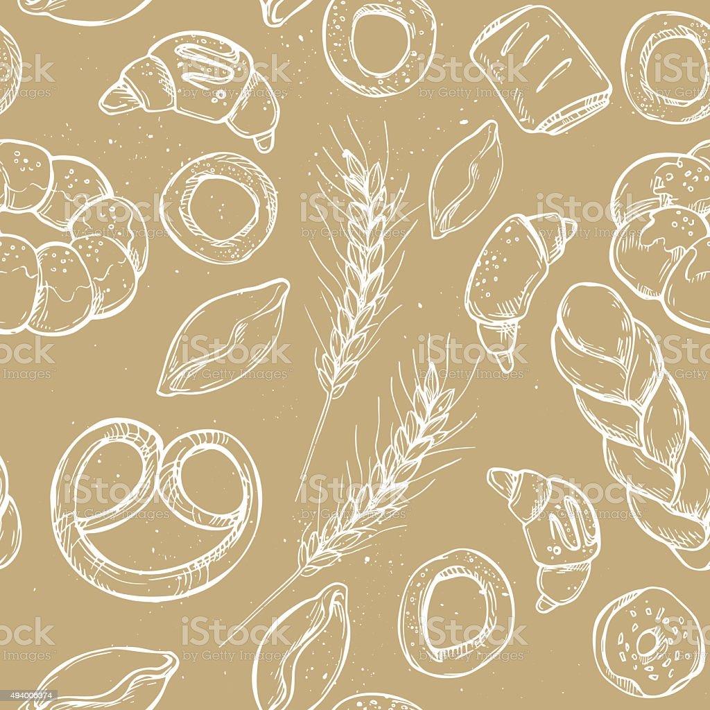 Hand drawn vintage vector seamless pattern - Bakery shop vector art illustration