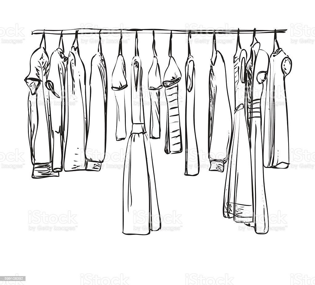 Hand drawn wardrobe sketch. Clothes. vector art illustration