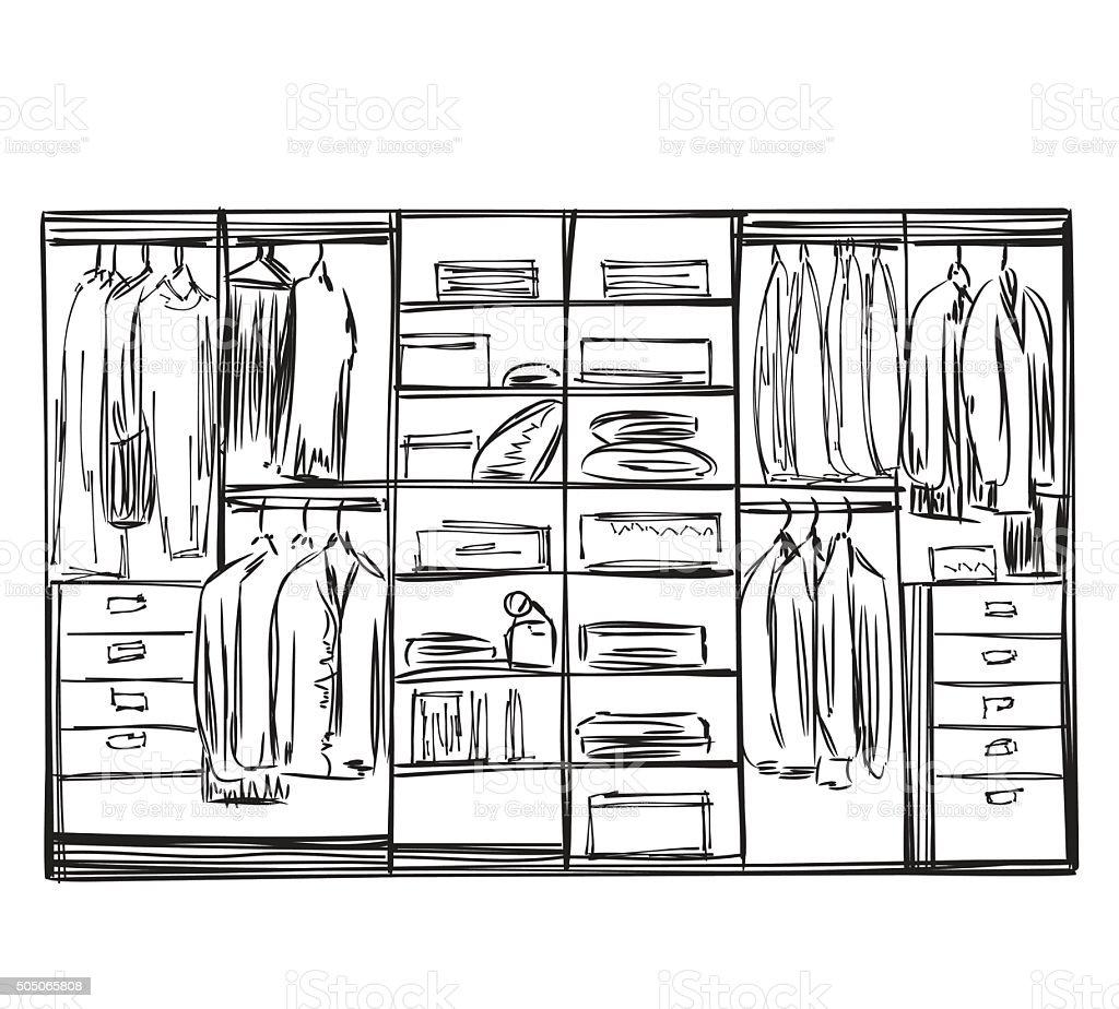Hand drawn wardrobe sketch vector art illustration