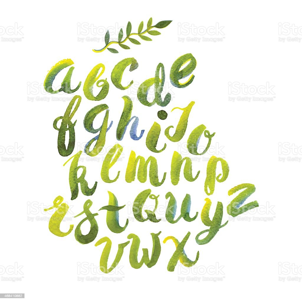 Hand drawn watercolor alphabet made with brush-shades and smears vector art illustration