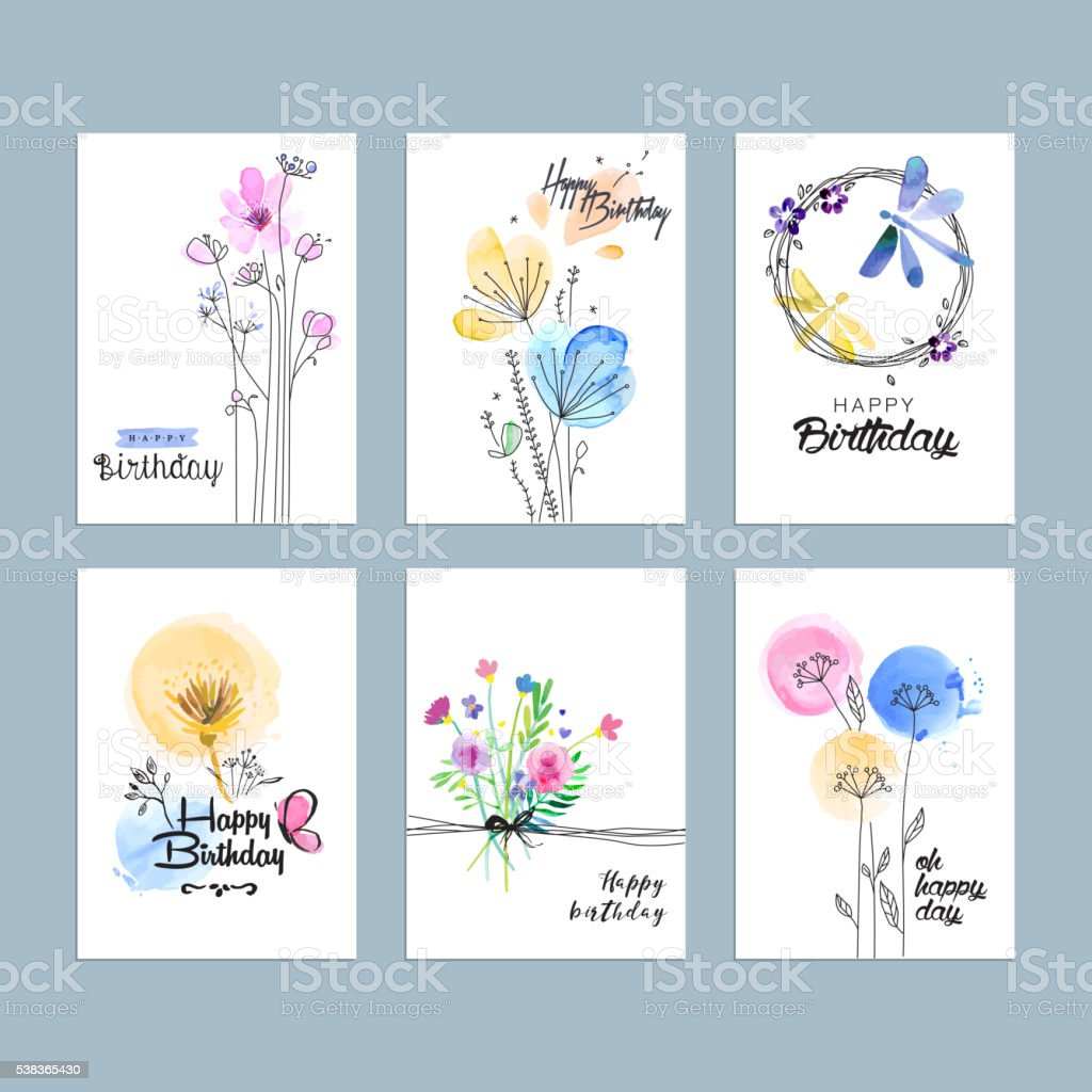 Hand drawn watercolor birthday greeting cards vector art illustration