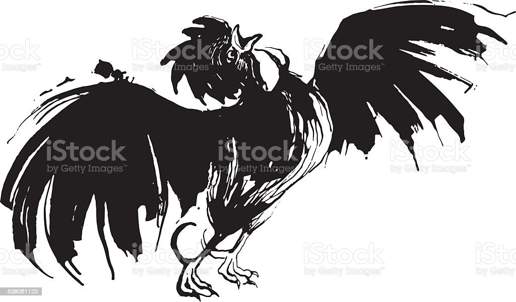 Hand drawn watercolor cock crowing and flittering vector art illustration
