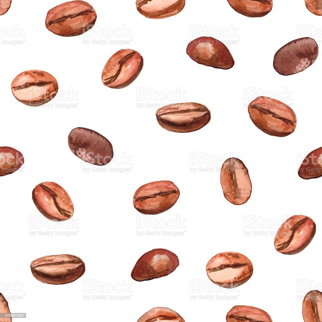 Hand drawn watercolor coffee seamless background vector art illustration