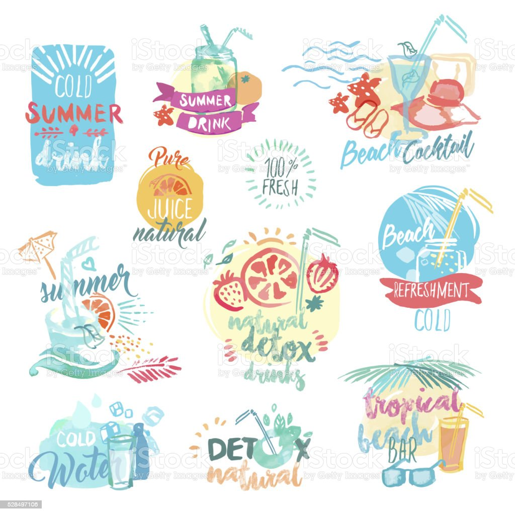 Hand drawn watercolor labels of fresh fruit juice and drinks vector art illustration