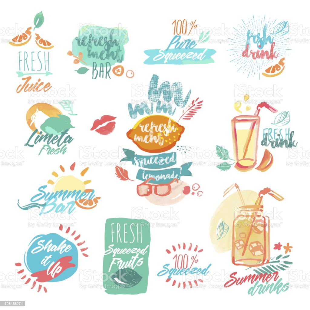 Hand drawn watercolor labels of fruit juice and drinks vector art illustration