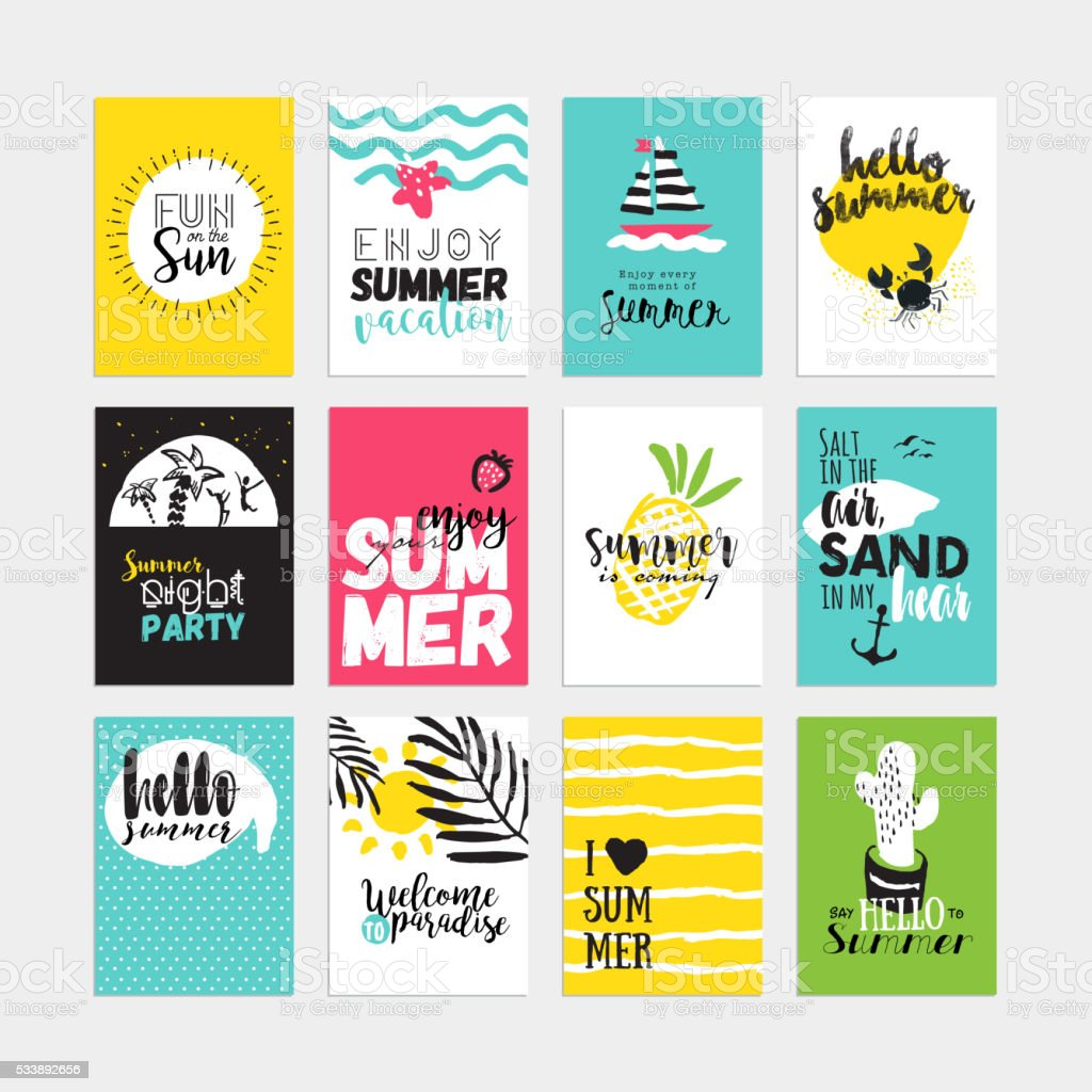 Hand drawn watercolor summer cards and banners collection vector art illustration