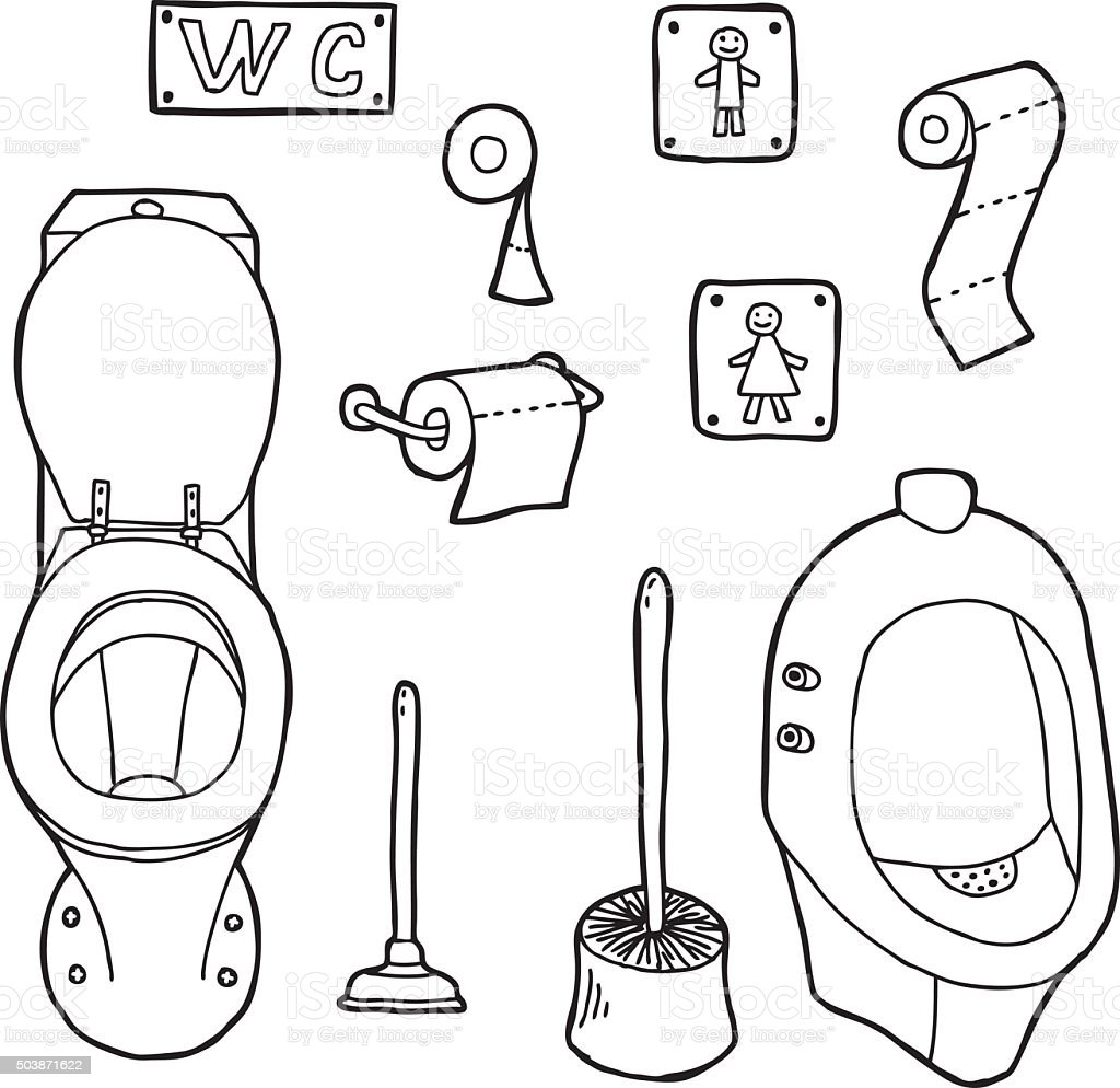 Hand drawn WC set vector art illustration