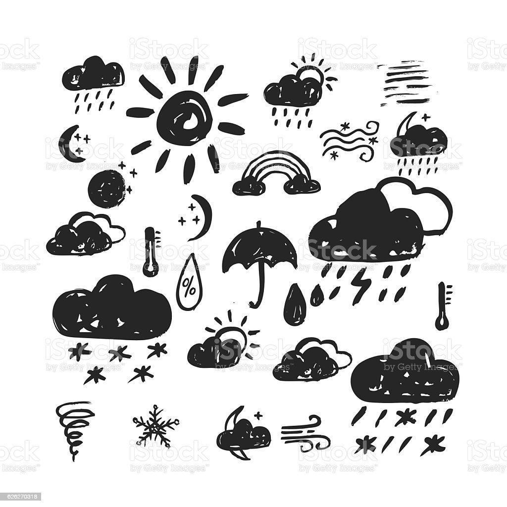 hand drawn weather icon vector art illustration