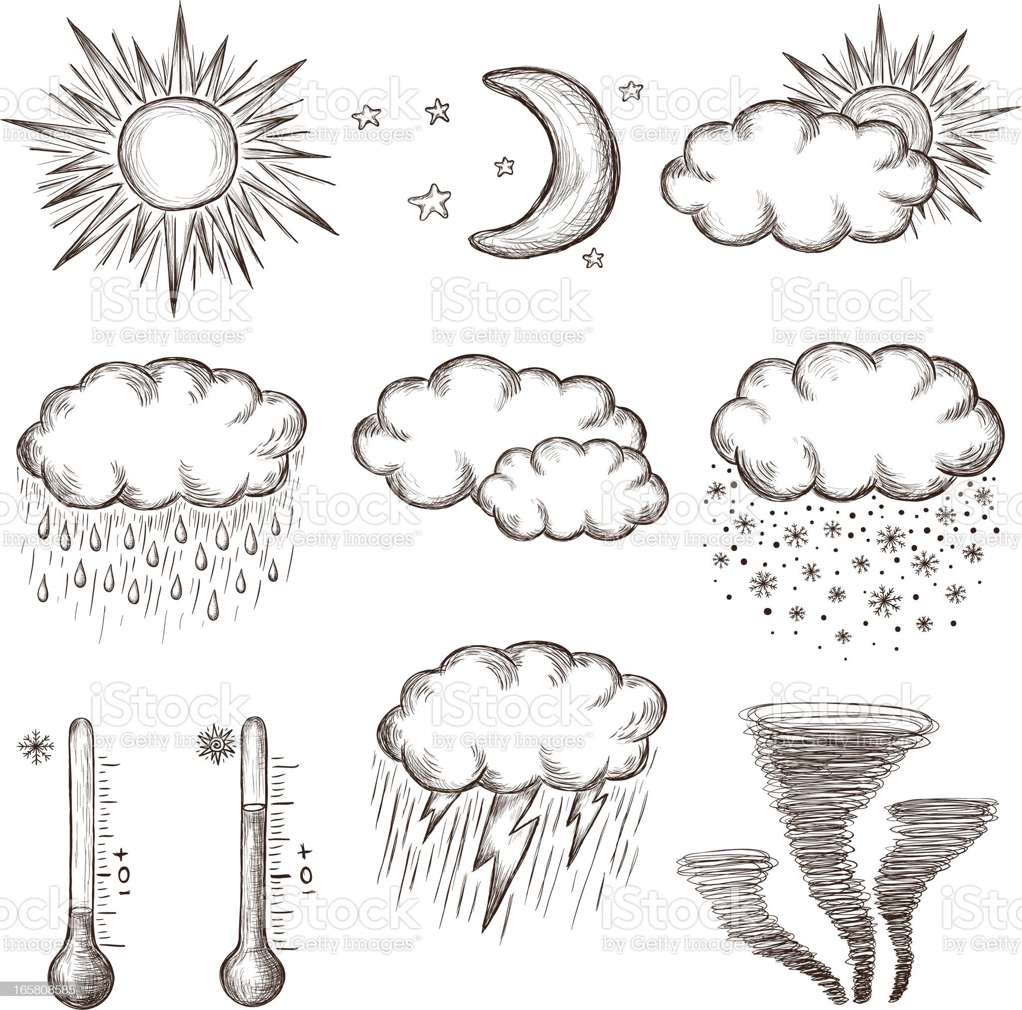 Hand drawn weather icons. royalty-free stock vector art