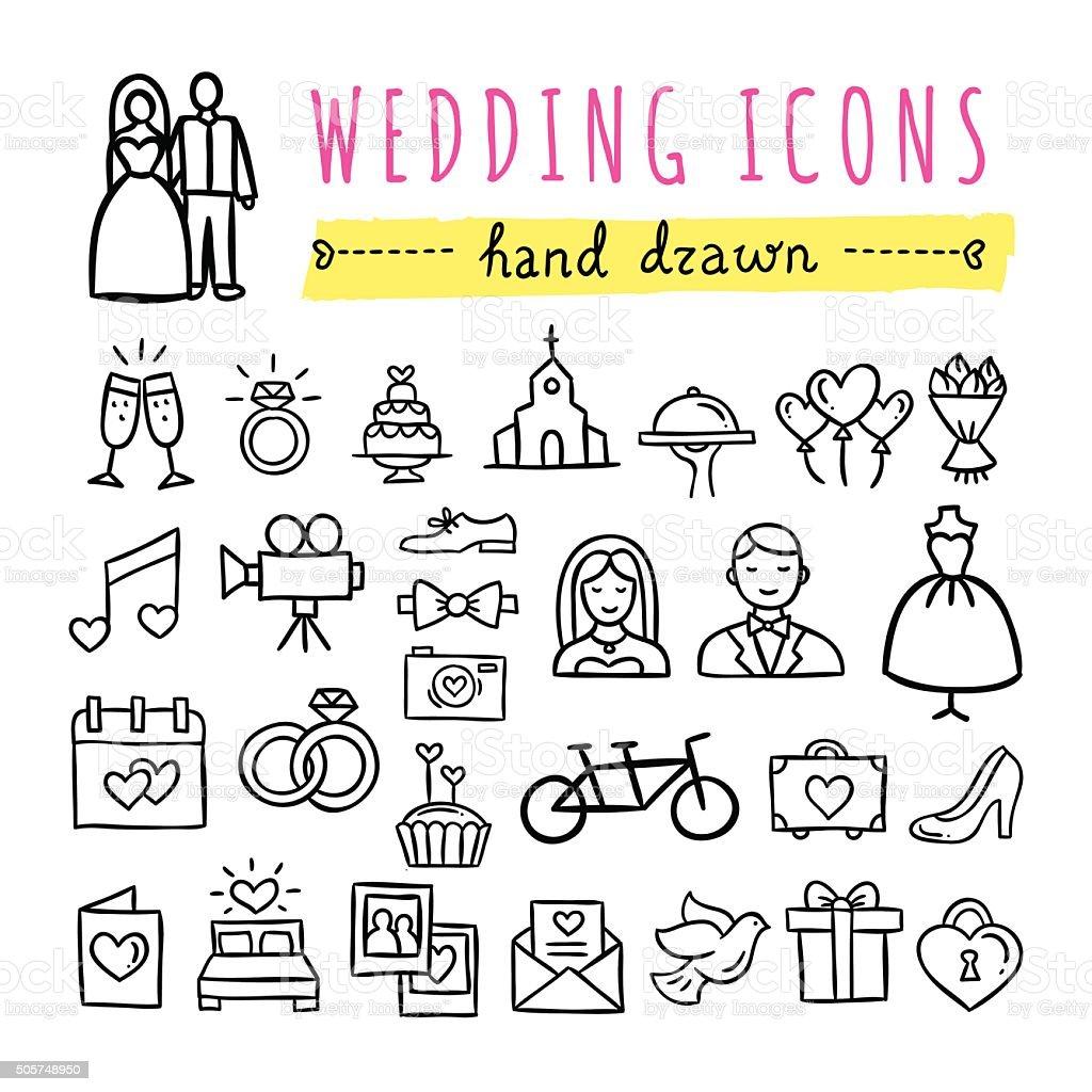 Hand drawn wedding icons. Marriage, engagement, love, couple, honeymoon symbols vector art illustration