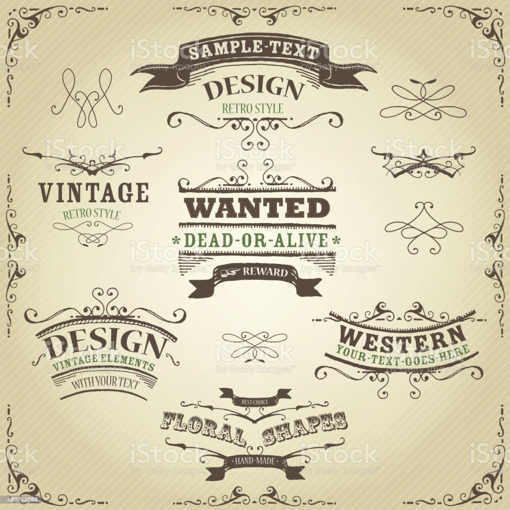 Hand Drawn Western Banners And Ribbons vector art illustration