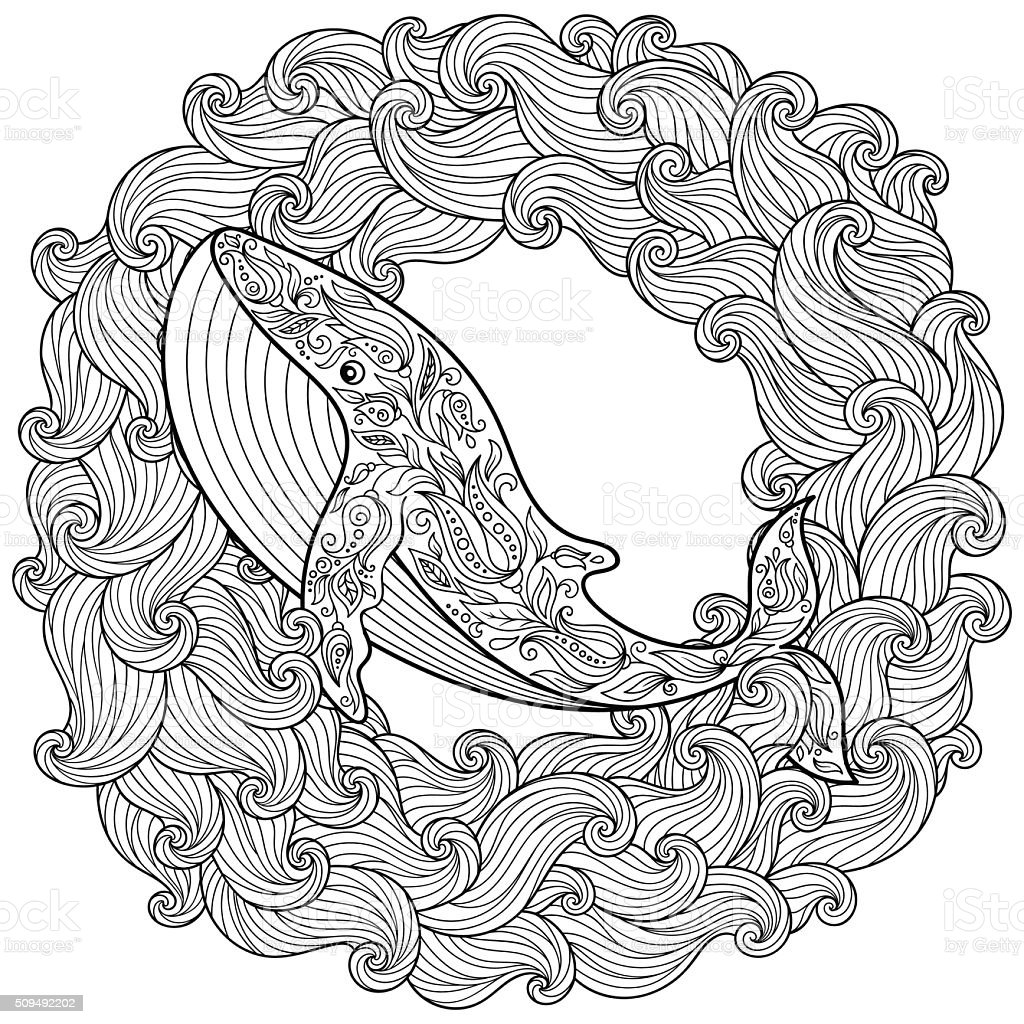 Hand drawn whale in the waves for Coloring Page vector art illustration