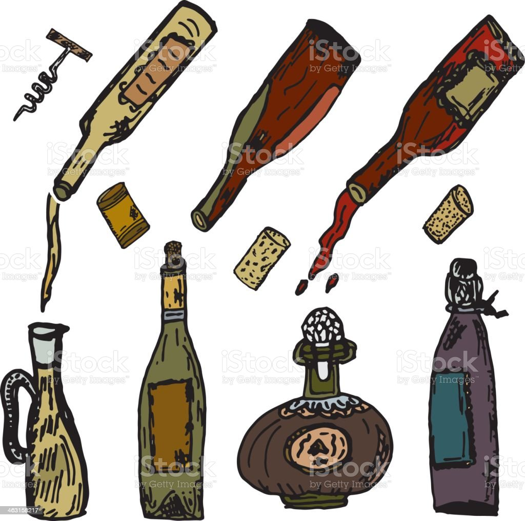Hand Drawn Wine Elements Bottle Set with Corks Sketchy Style royalty-free stock vector art