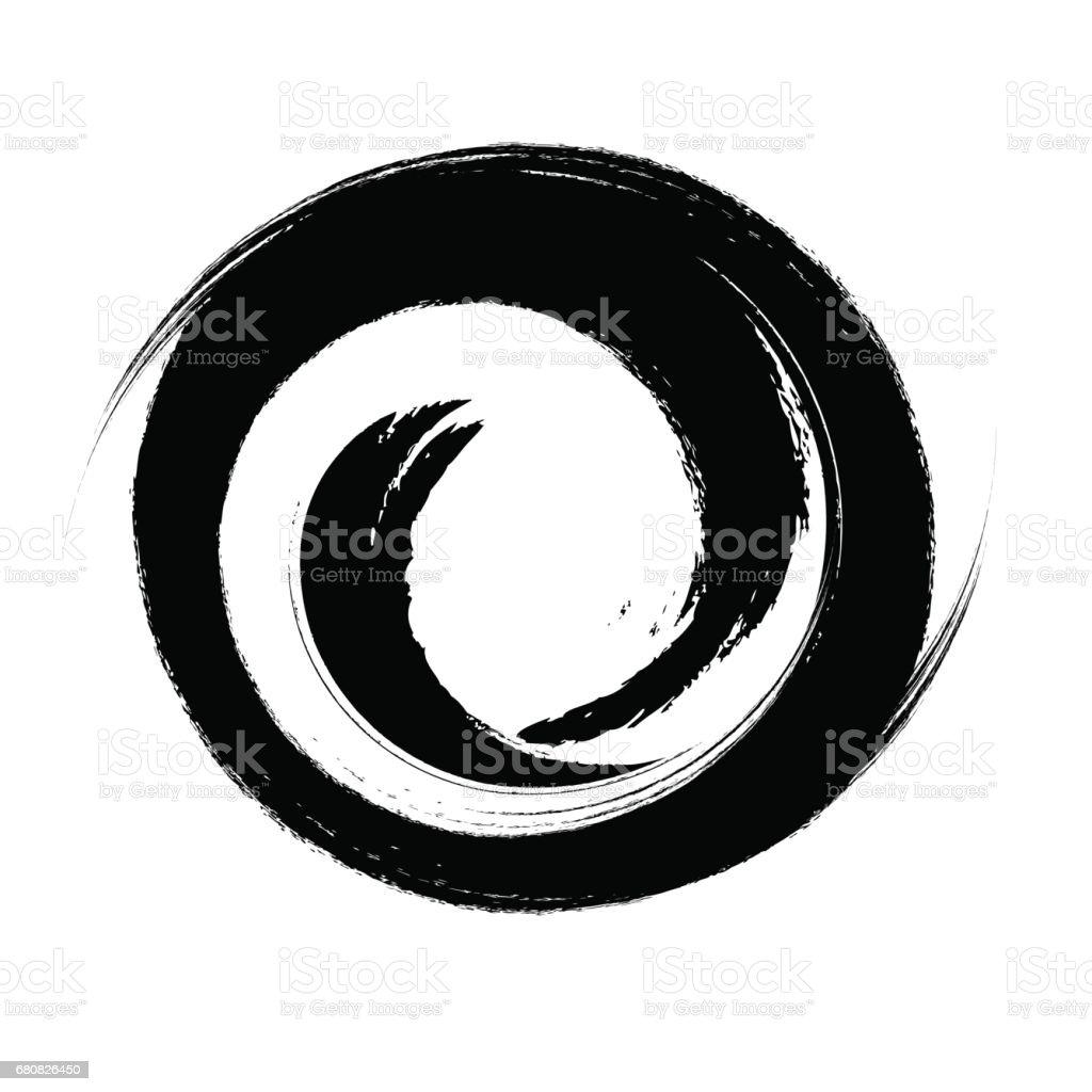 hand drawn with brush swirl spiral vector illustration stock vector