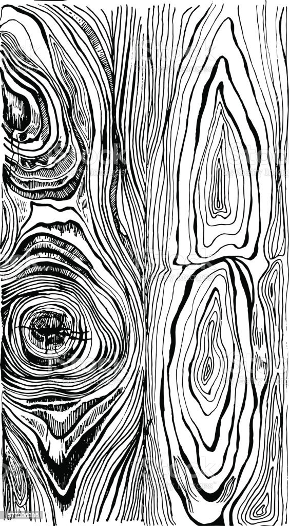 Hand drawn wood texture vector art illustration