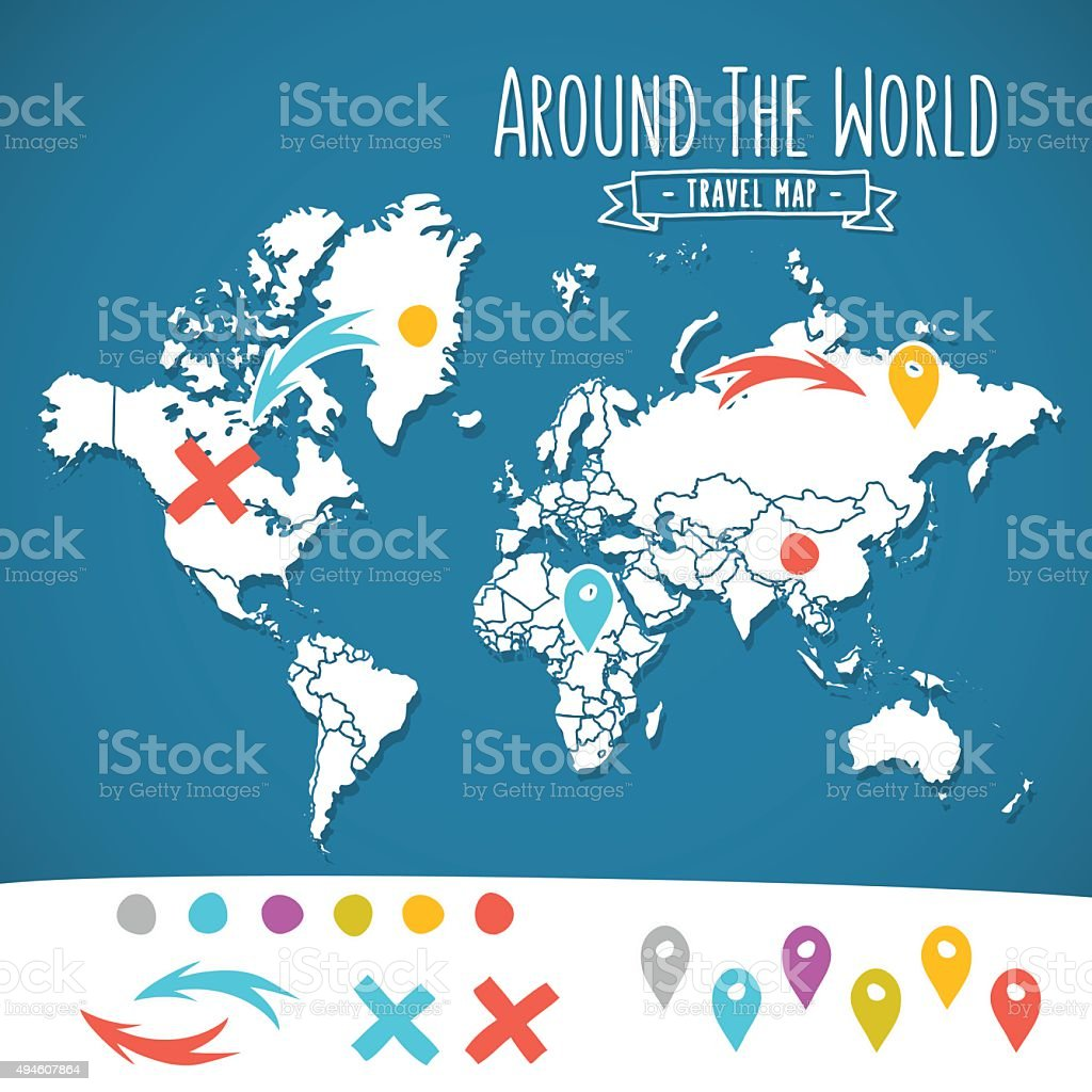 Hand drawn world map with pins and arrows vector design vector art illustration