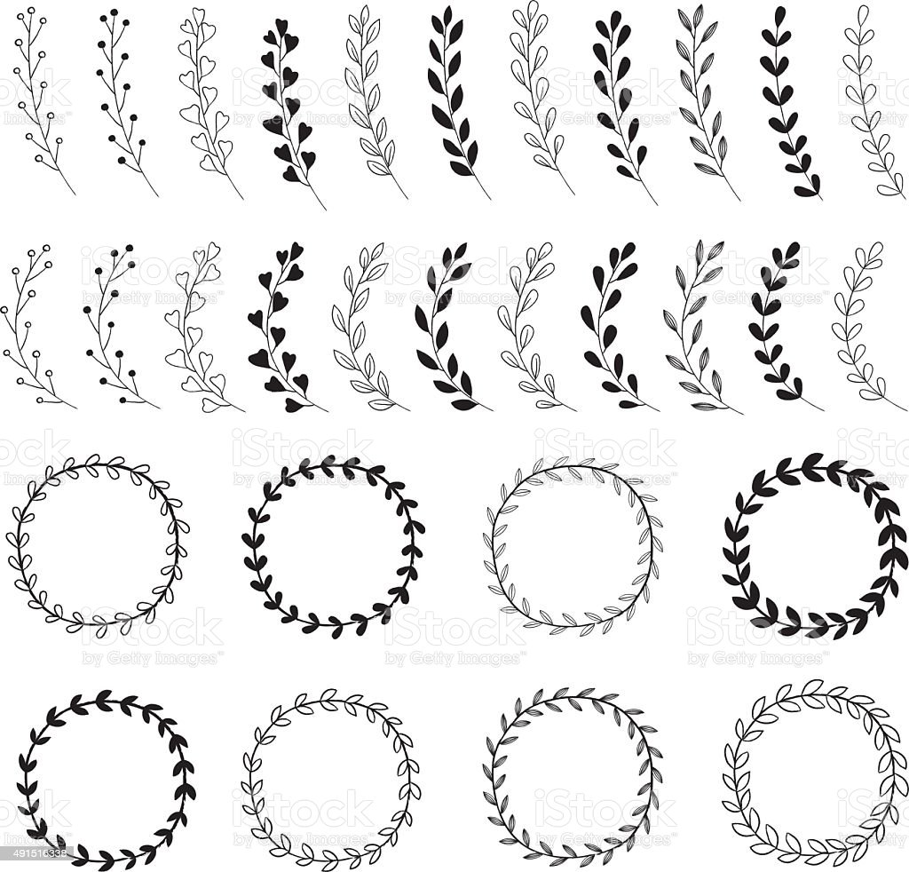 Hand Drawn Wreath Designs vector art illustration
