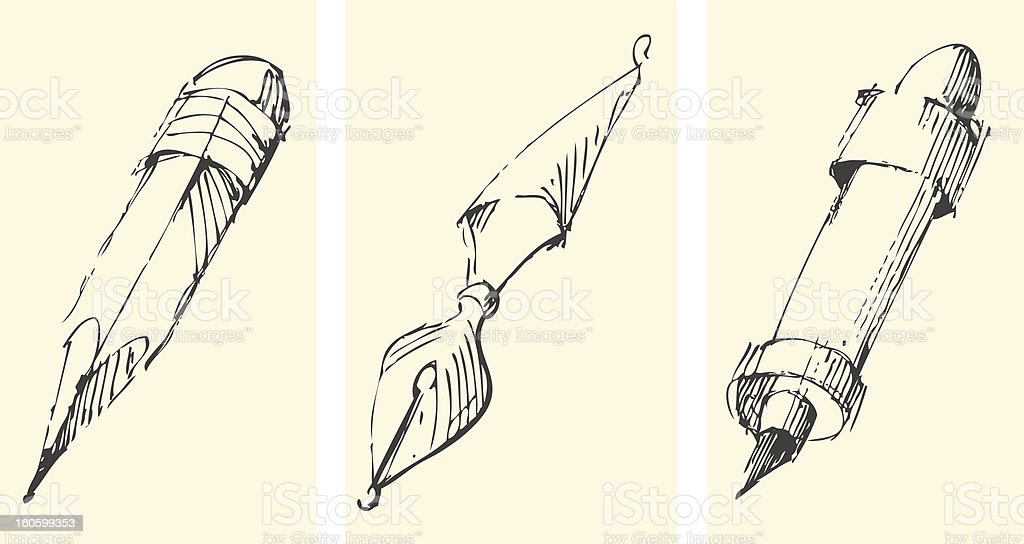 Hand drawn writing instruments vector art illustration