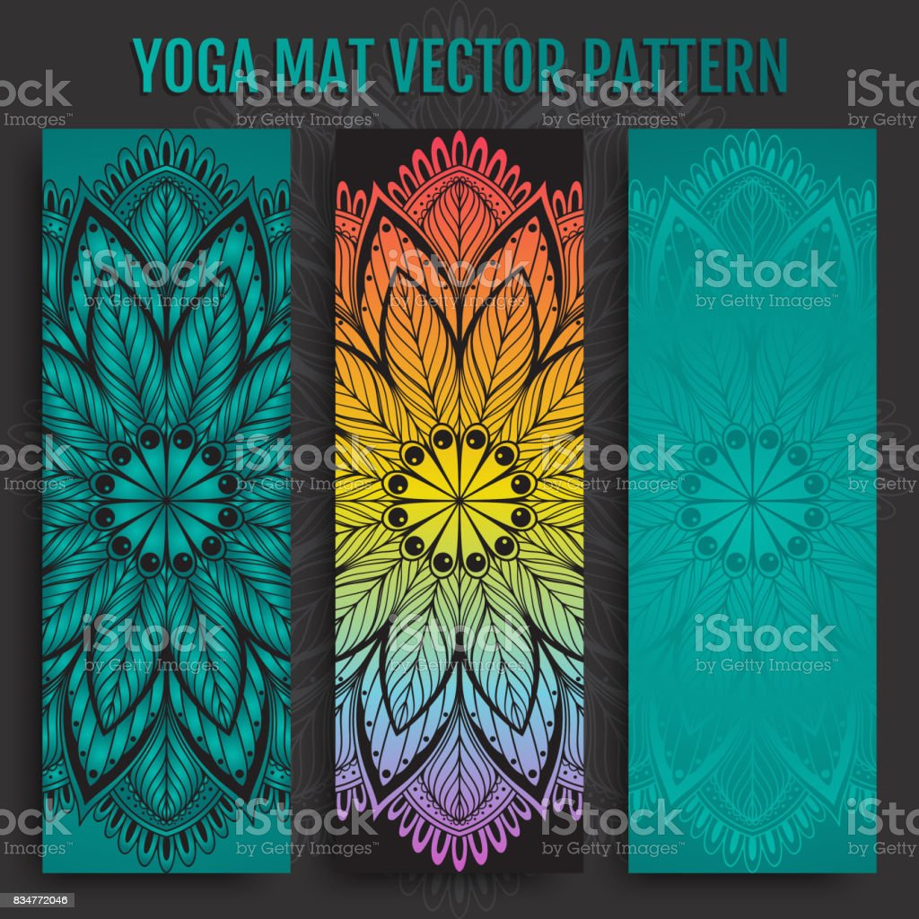 Hand drawn yoga mat vector pattern vector art illustration