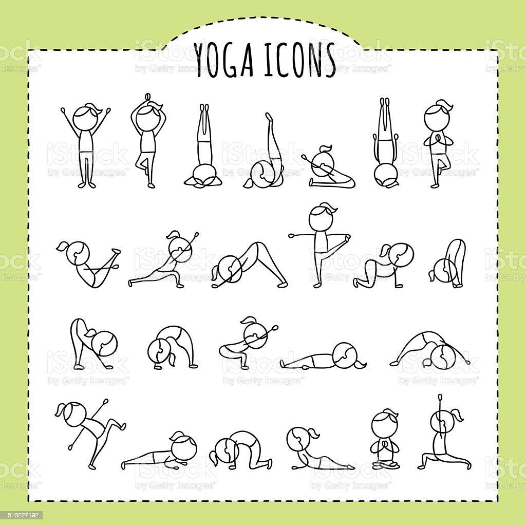Hand drawn yoga poses. Yoga asanas. Gymnastics exercises, stretching, meditation. vector art illustration