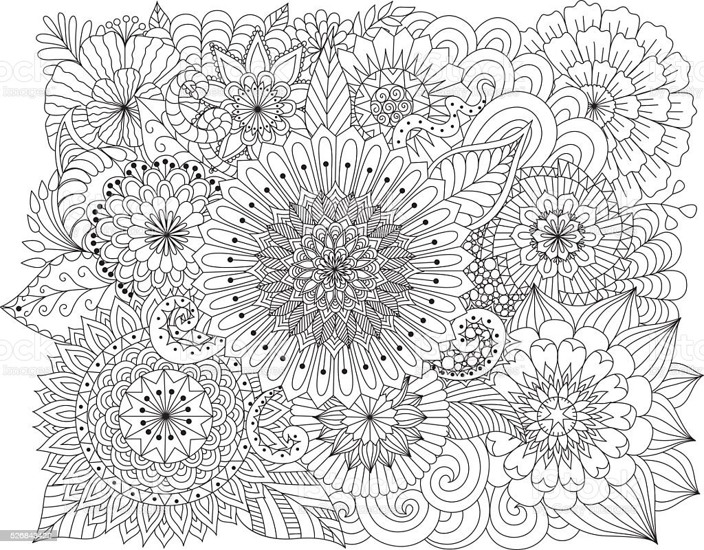 Hand drawn zentangle floral background for coloring page vector art illustration